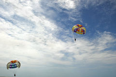 Paragliding on the beach the Monpiche Stock Images