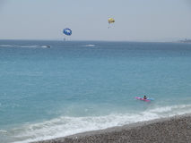 Paragliding and Beaches in Cannes Stock Image