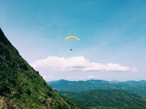 Paragliding blue sky. Take the photo on 16 th Apr,2017 in Hong Kong Royalty Free Stock Photo