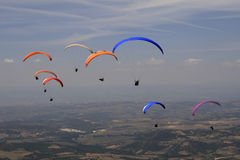 Paragliding, Bornes, Portugal. Group of paragliding flying on sky royalty free stock image