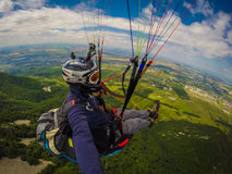 Paragliding on Caucasus Royalty Free Stock Photo