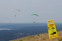 Paragliding Caution Sign Stock Images