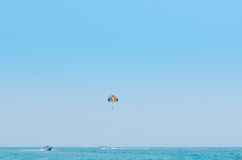Paragliding in the clear sky Stock Images