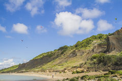Paragliding from the cliffs. On the edge of the english channel in Normandy Royalty Free Stock Image