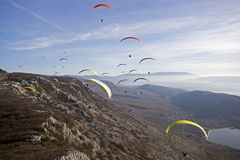Paragliding Competition Stock Image