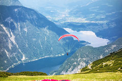 Paragliding at the Dachstein Mountains Stock Image