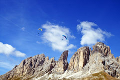 Paragliding in Dolomites Royalty Free Stock Image