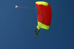 Paragliding duo. In the air royalty free stock photo