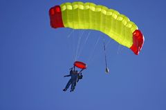Paragliding duo. In the air stock images