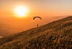Paragliding in the evening Stock Image