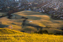 Paragliding in the evening Stock Photos