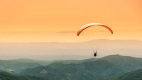 Paragliding flight. Paragliding in the mountains of France Stock Photo
