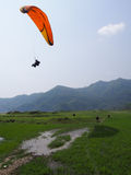 Paragliding flight. PARKLAND FLIGHT IN POKHARA, Nepal Stock Photo