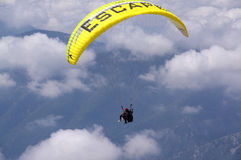 Paragliding flying. In Turkey,Tahtali Royalty Free Stock Images