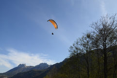 Paragliding and Forclaz mountains, in Annecy, Savoy, France Royalty Free Stock Photography