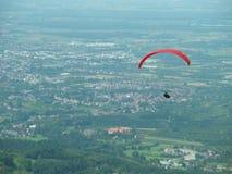 Paragliding , free flight, adrenaline. Recreational adventure sport stock image