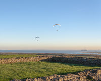 Paragliding at Hadleigh Castle / ruins Stock Image