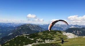 Paragliding, Hallstatter See, Scenery around the mountain Hoher Krippenstein, Salzkammergut, Salzburg, Austria Royalty Free Stock Photo