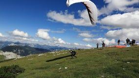 Paragliding, Hallstatter See, Scenery around the mountain Hoher Krippenstein, Salzkammergut, Salzburg, Austria Stock Photo