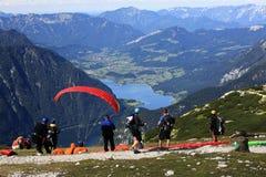 Free Paragliding, Hallstatter See, Scenery Around The Mountain Hoher Krippenstein, Salzkammergut, Salzburg, Austria Stock Photo - 57023730