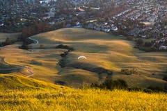 Paragliding i aftonen Arkivfoton