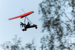 Paragliding i det låga svepande flyget över träd Royaltyfri Foto