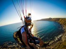paragliding Italien, Sicilia Stockfotos