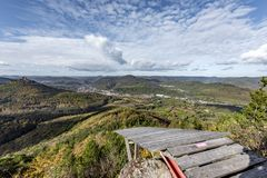 Paragliding launch site on a mountaintop. Overlooking the Palatinate Forest Germany Stock Photography