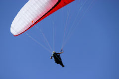 Paragliding. A man with a paraglider in the sky Royalty Free Stock Images