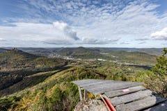 Paragliding miejsce startu na szczycie górskim Fotografia Stock
