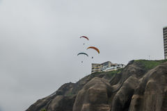 Paragliding in Miraflores district - Lima, Peru. Paragliding in Miraflores district in Lima, Peru Stock Image