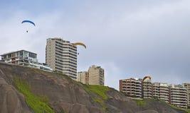 Paragliding at Miraflores, Lima, Perú Stock Images