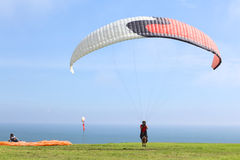 Paragliding in Miraflores, Lima, Peru Stock Photos