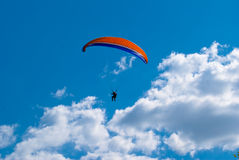 Paragliding in Moldova. Paragliding in historical and archaeological complex Old Orhei in Moldova Royalty Free Stock Photos
