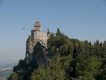 Paragliding and Monte Titano. In San Marino Stock Photo