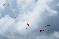 Paragliding on the mountain Sarangkot in Pokhara. Sarangkot Pokhara Nepal - August 18 2014: Paragliding on the mountain Sarangkot in Pokhara Royalty Free Stock Photos