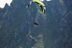 Paragliding in the mountains stock photos