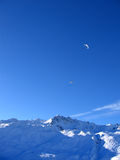 Paragliding in the Mountains. Tignes, France royalty free stock photo