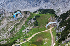 Paragliding in the mountains Stock Image