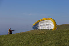 Paragliding in the mountains Stock Photography