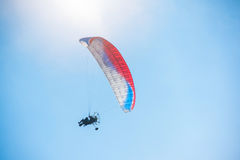Paragliding in mountains. Para gliders in fight in the mountains, extreme sport activity Stock Images