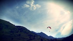 Paragliding in the mountains of the Pyrenees Royalty Free Stock Image