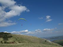 Paragliding in the Mountains of South Moravia stock images