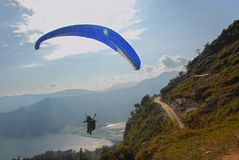 Paragliding in Nepal Stock Image