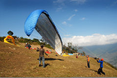 Paragliding in Nepal Stock Images