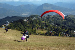 Paragliding in Nepal Royalty Free Stock Images