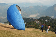 Paragliding in Nepal Stock Photo
