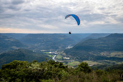 Paragliding at Ninho das Aguias Eagle`s Nest - Nova Petropolis, Rio Grande do Sul, Brazil. Paragliding at Ninho das Aguias Eagle`s Nest in Nova Petropolis, Rio stock photo