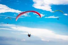 Paragliding no céu azul Imagens de Stock Royalty Free
