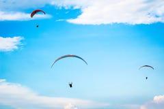Paragliding no céu azul Imagem de Stock Royalty Free